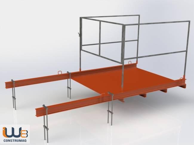 plataforma para descarga de materiais com ganchos