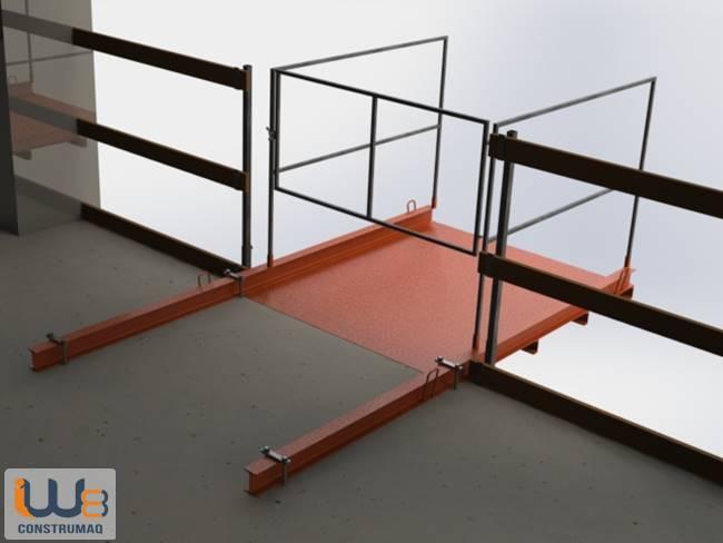 plataforma para descarga fixada com ganchos